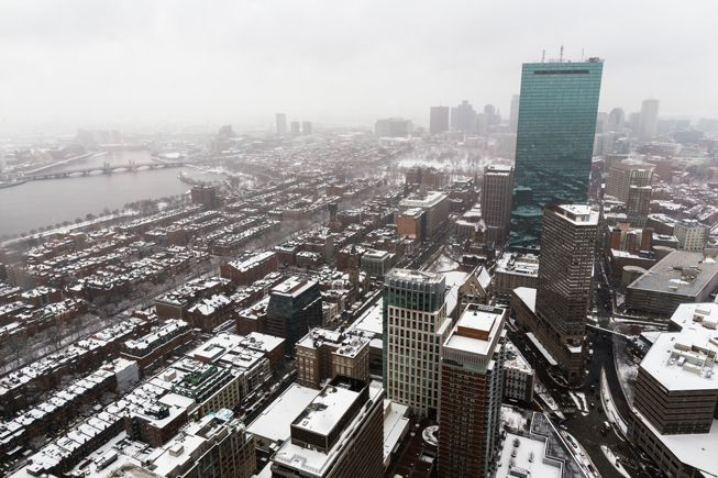Boston covered in snow early in March 2018