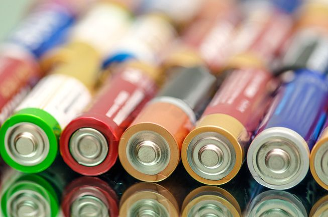 A close-up of batteries on their side