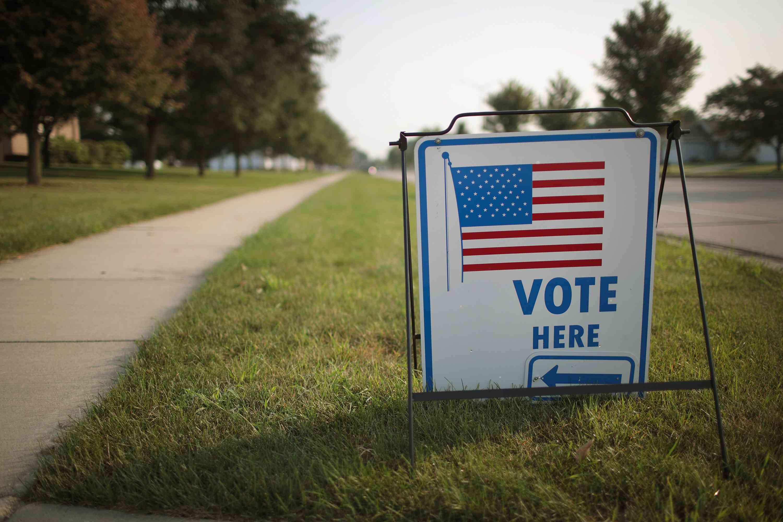 'Vote Here' sign in Janesville, Wisconsin