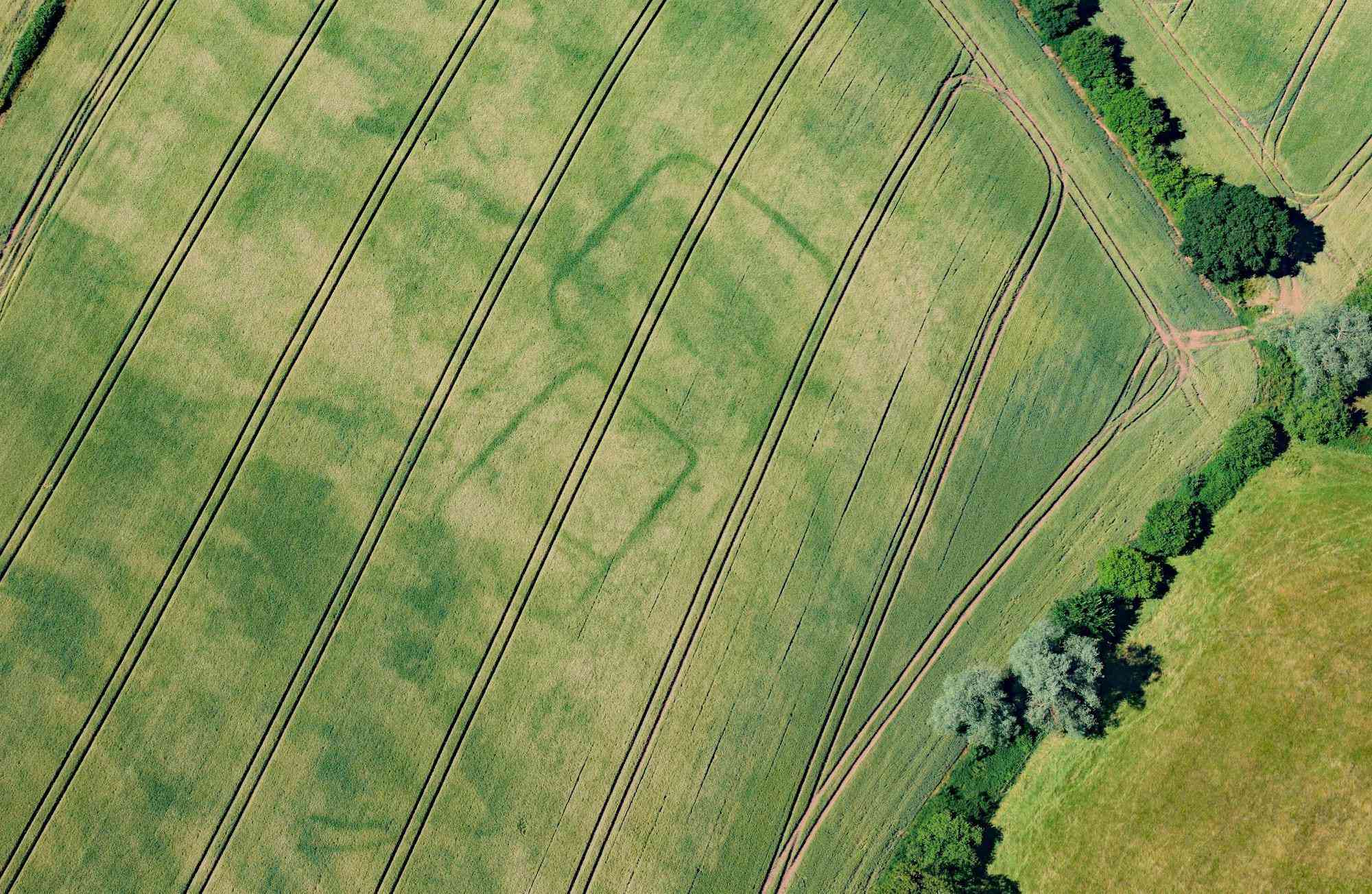 Newly discovered cropmarks of a prehistoric or Roman farm near Langstone, Newport, South Wales.