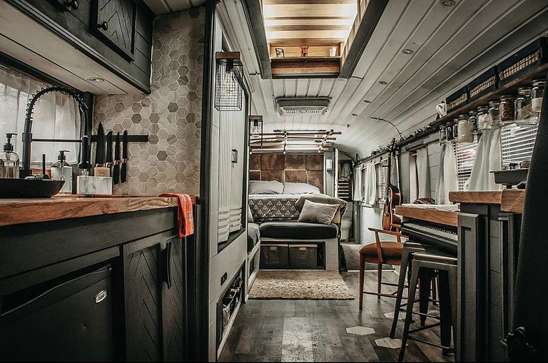bus conversion The Roamer Bus Caleb Brackney interior