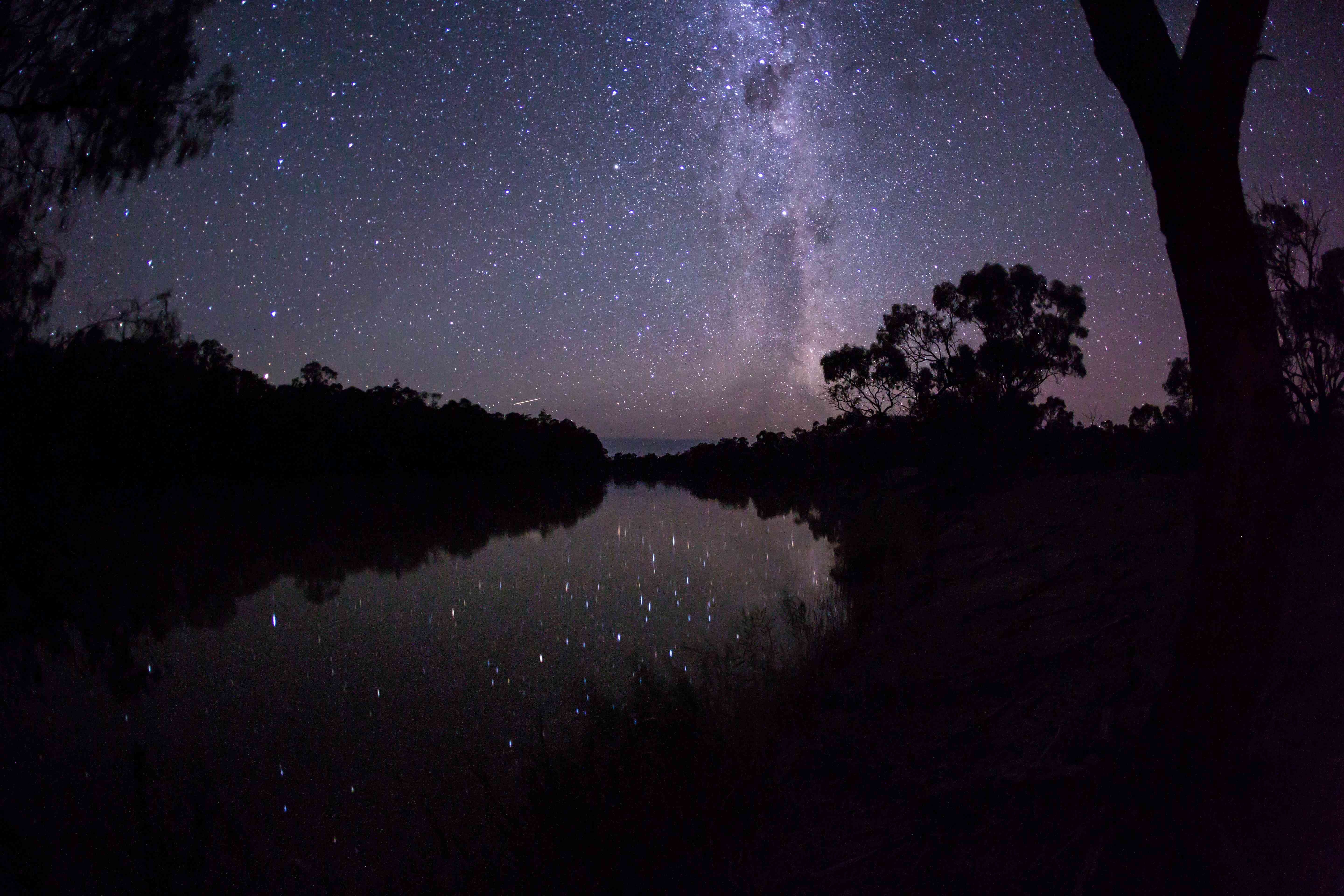 Bright stars reflecting in river surrounded by forest