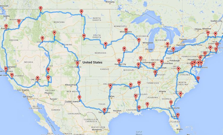 Map showing 50 destinations for US roadtrip.