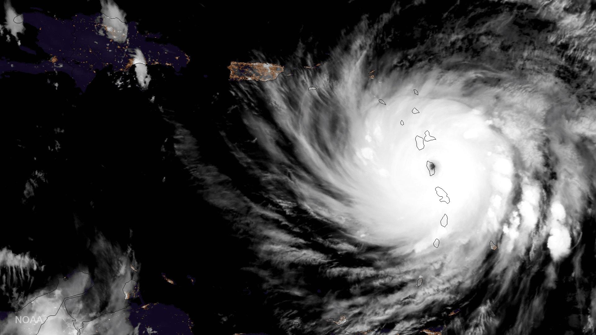 Satellite image of Hurricane Maria over Dominica.