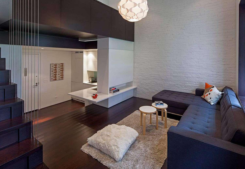 manhattan microloft specht architects living room and kitchen