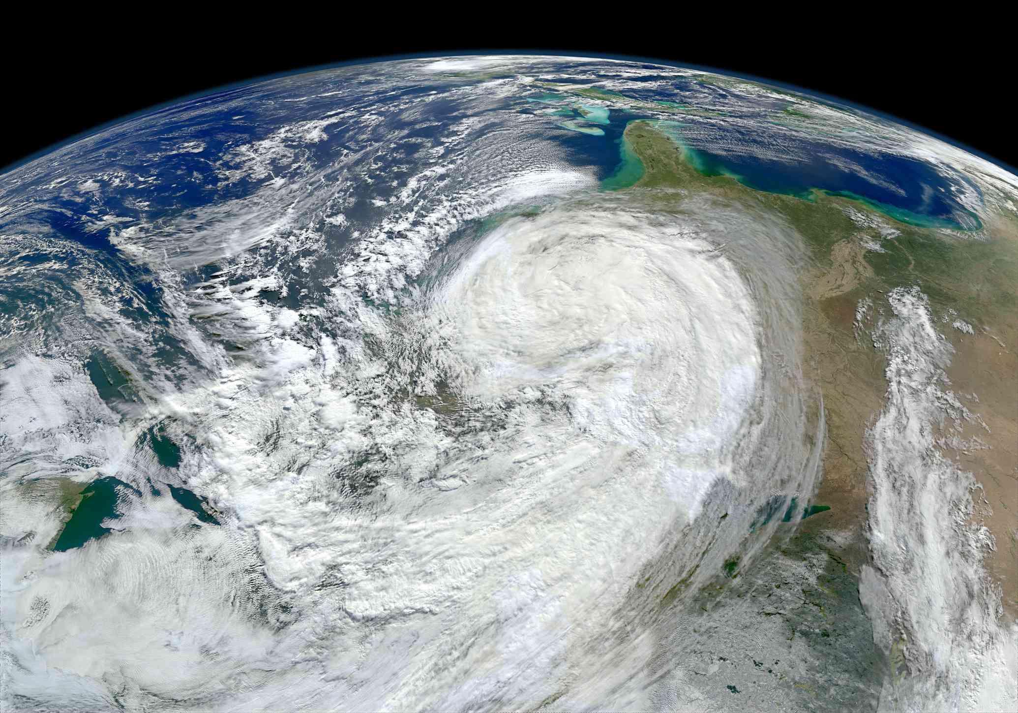 A satellite image of Hurricane Sandy.