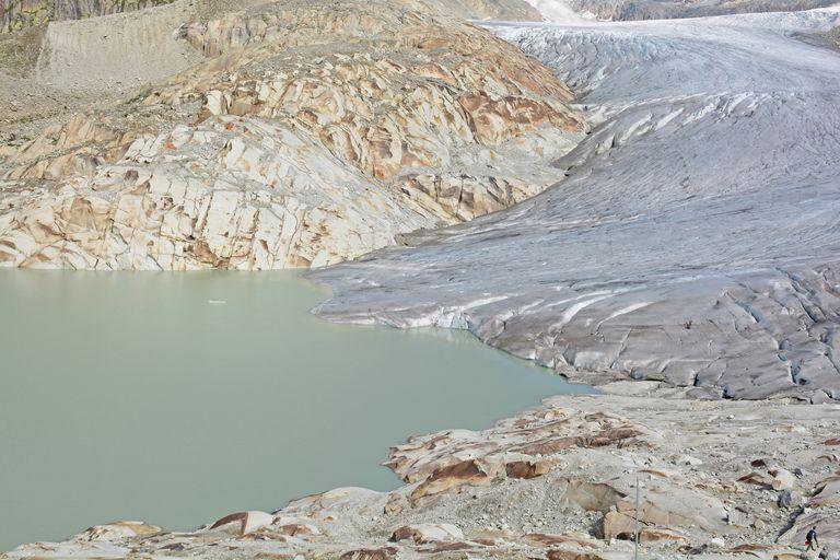 Rhone Glacier and lake where Rhone river begins