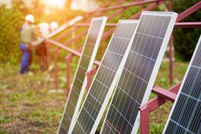 Solar panels awaiting ground-mounting