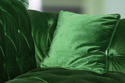 Green Velvet Sofa With Cushion At Home