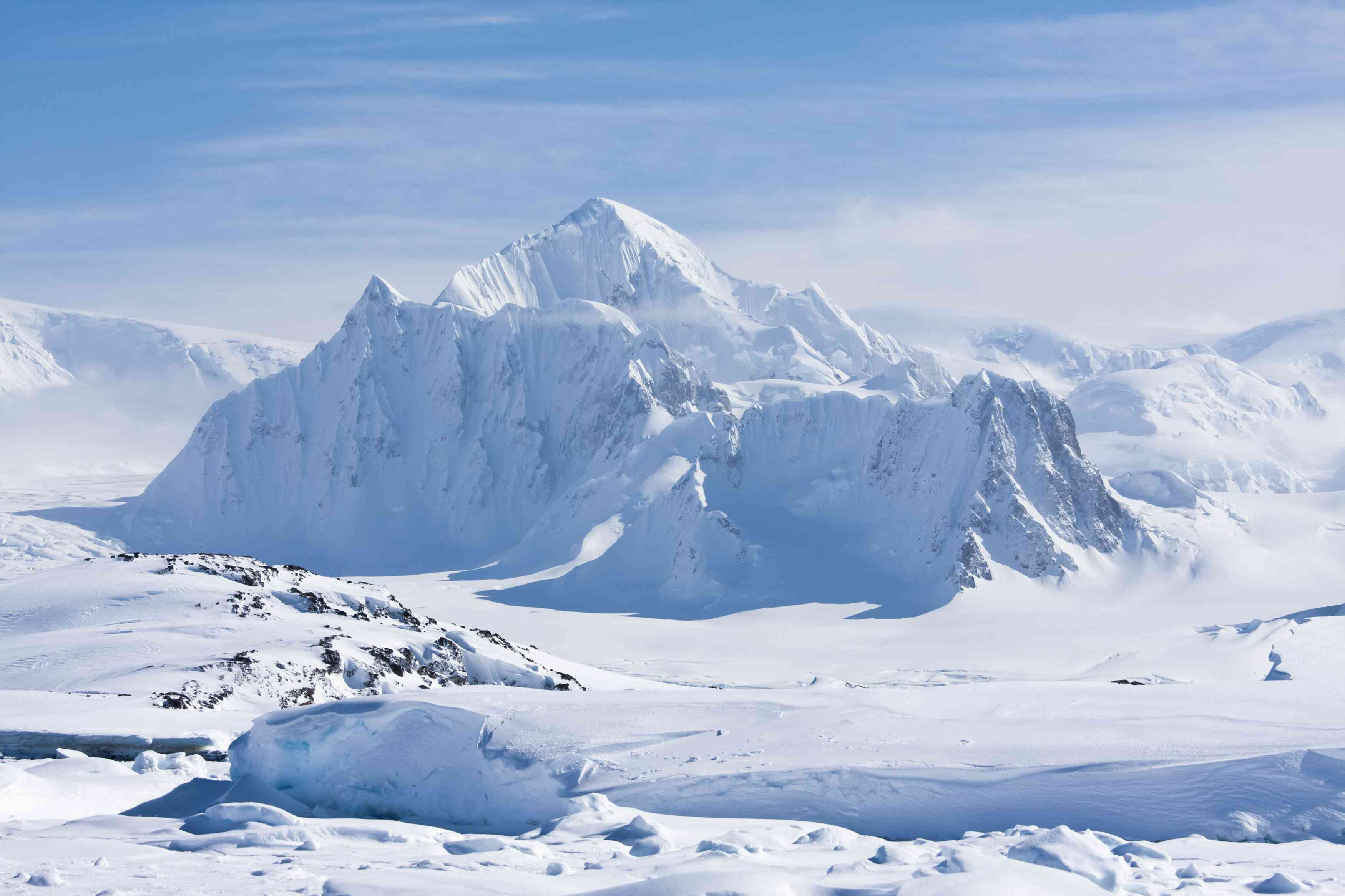 Snow-covered landscape and peaks in Antarctica