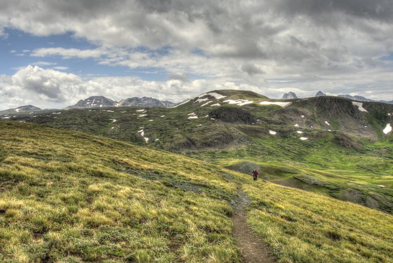 Hiker on the Continental Divide Trail in Colorado Rocky Mountains