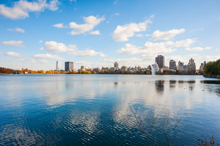 Clouds over the reservoir in New York City's Central Park