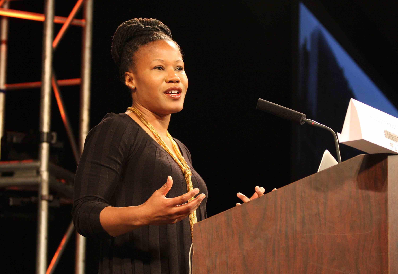 Majora Carter at a podium