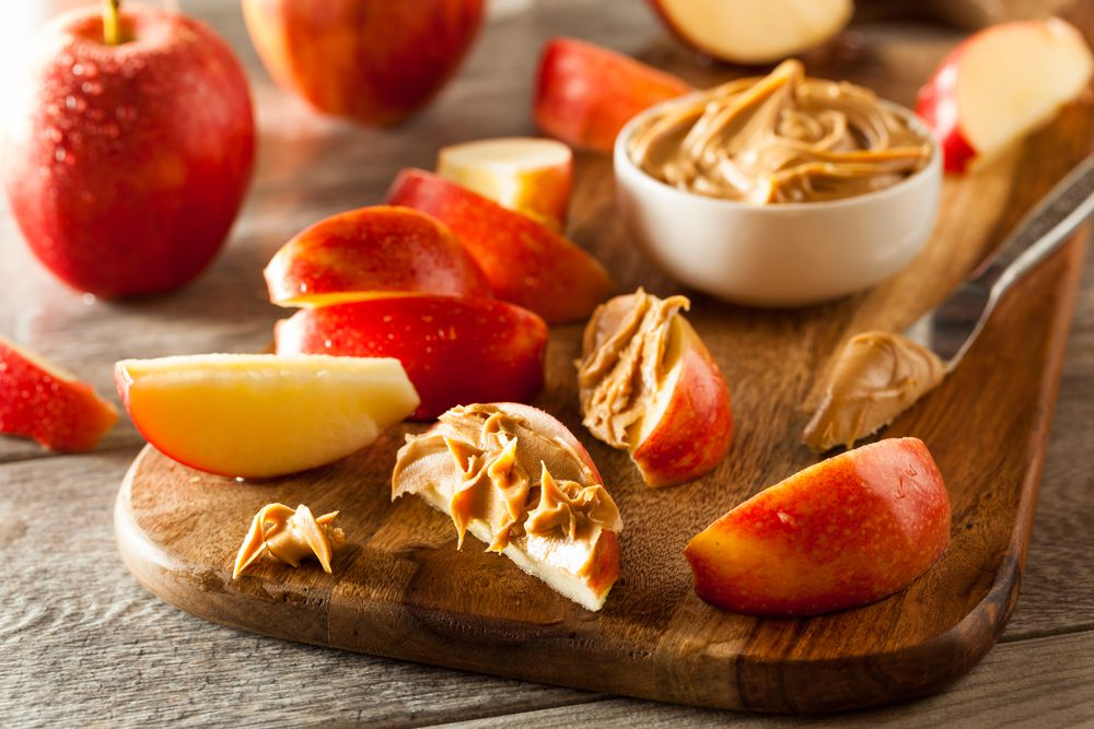 Apples with peanut butter is an easy snack and a yummy way to use up all those apples you picked at the orchard.