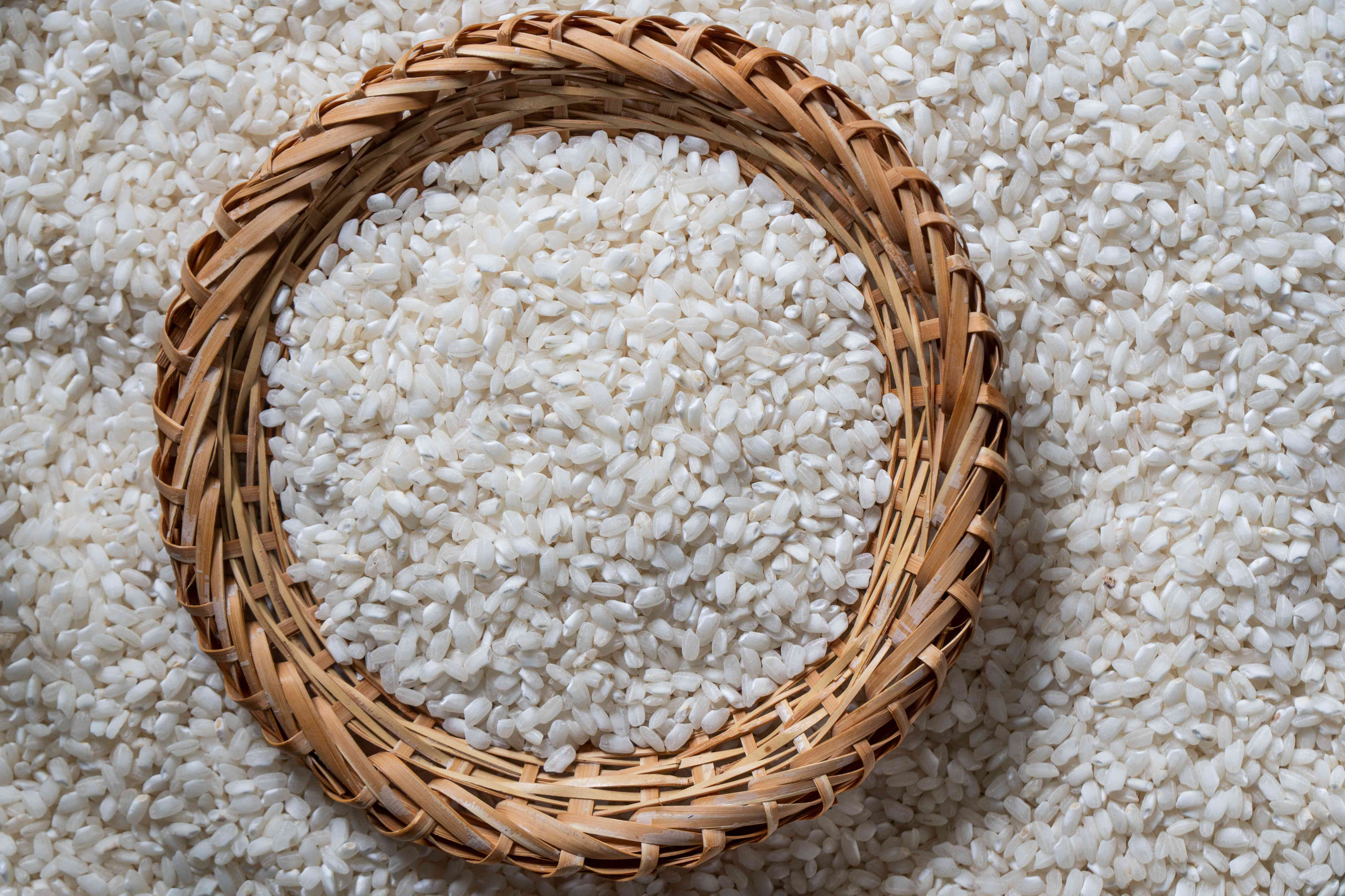 bowl of dried rice made out of basket material