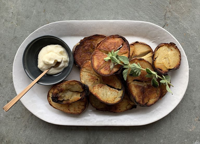 Fried up leftover baked potatoes with dipping sauce