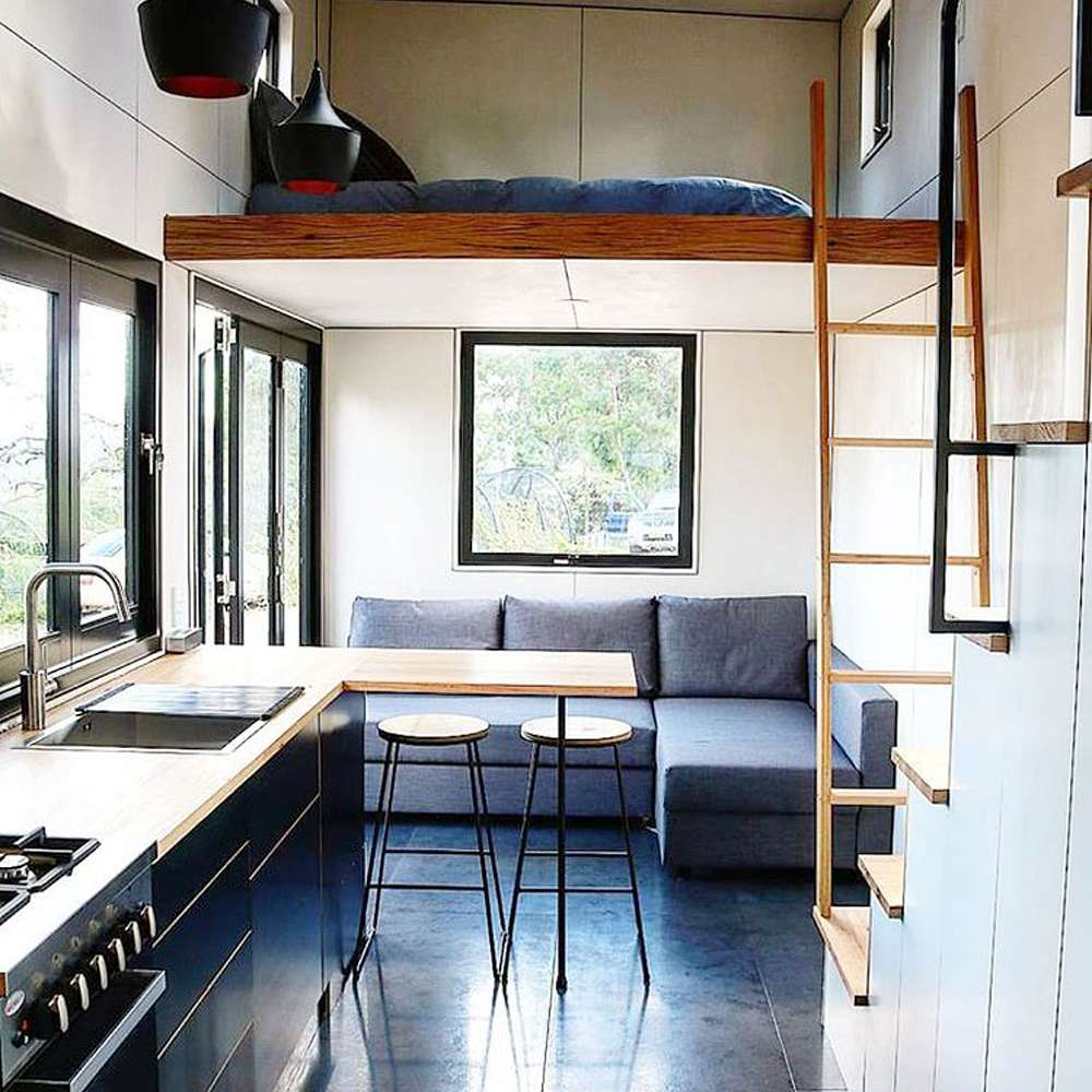 Bedroom bunk elevated above the living space