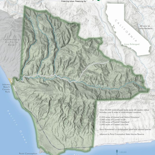 The map of the Jack and Laura Dangermond Preserve