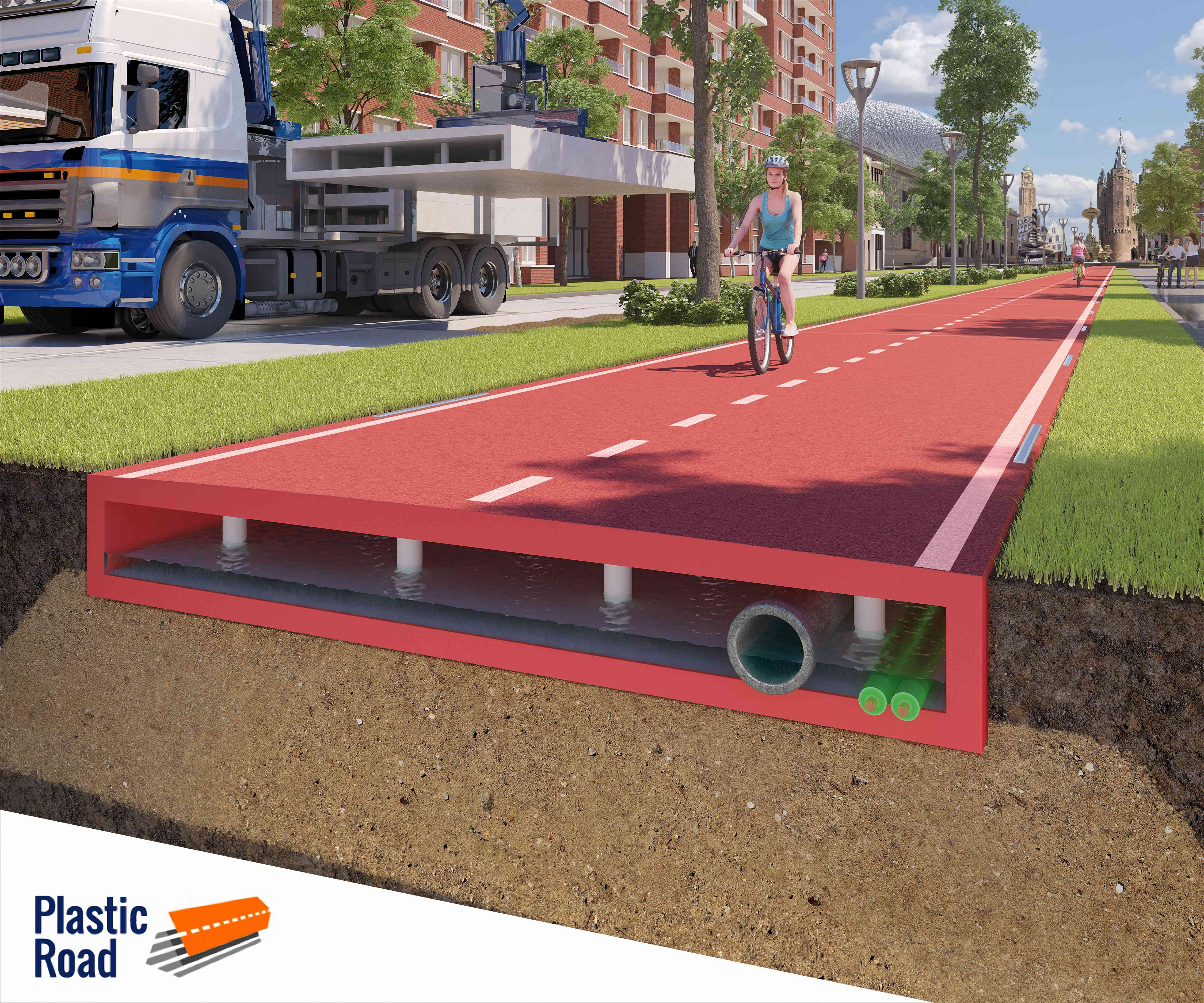 PlasticRoad bike path rendering