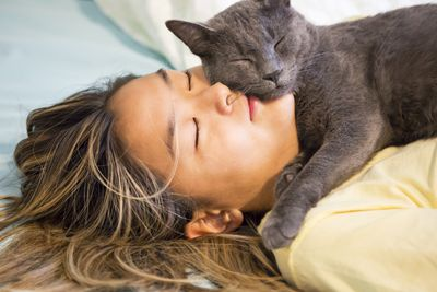 Asian teenager snuggles with her gray cat
