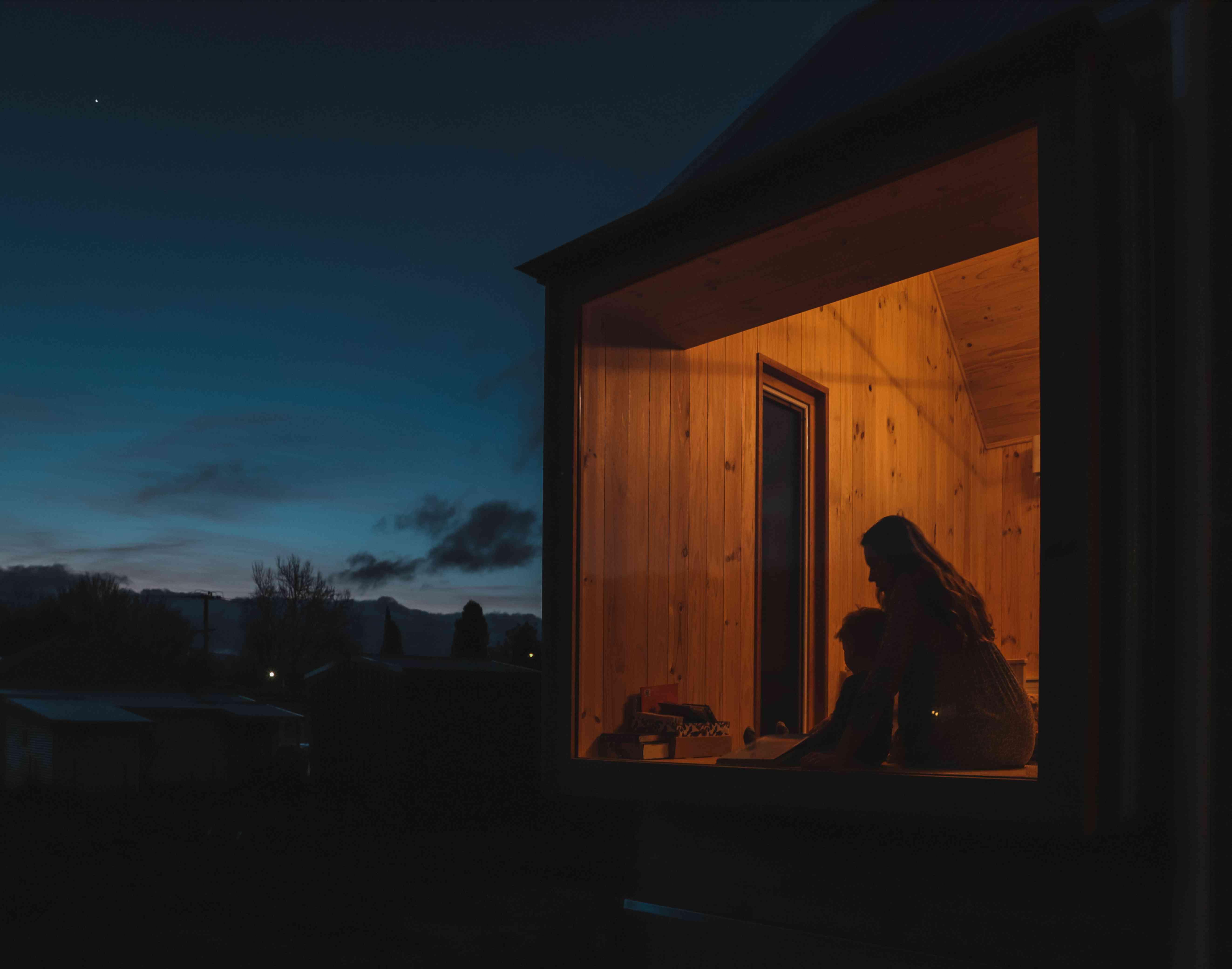 Tasmanian house at night