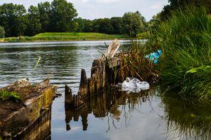 Plastic litter in river