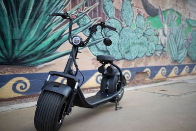 Scooter parked next to a wall with a desert mural painted on it