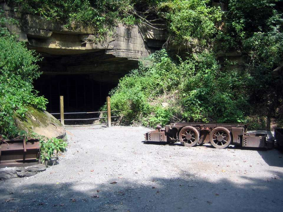 Coal car and mine entrance at the Nuttallburg head house, New River Gorge National Park.