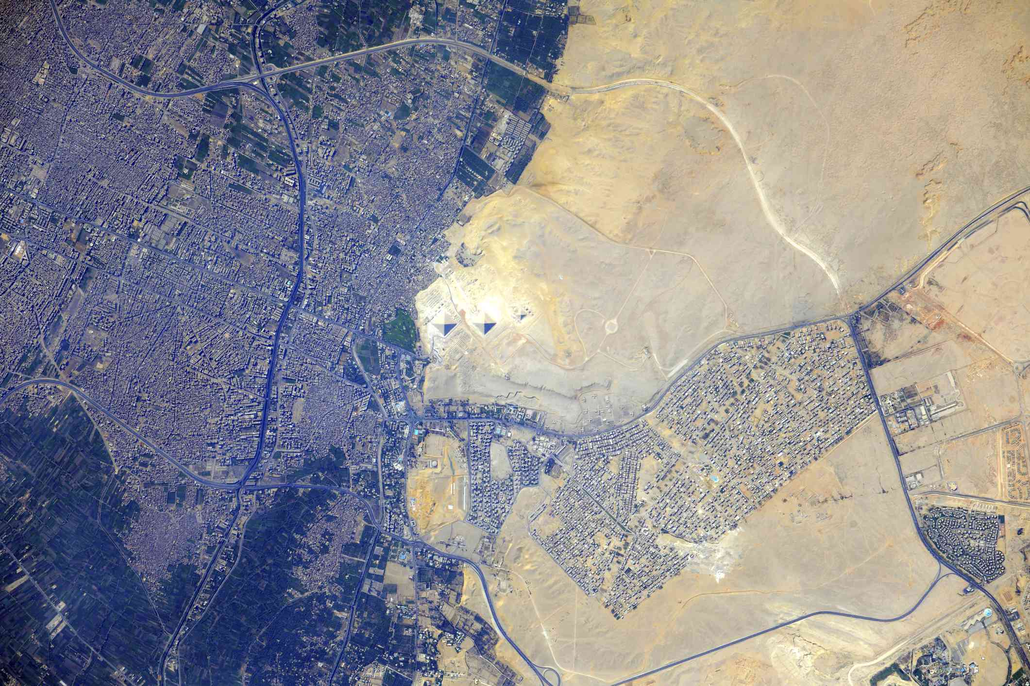 View from space of the Pyramids at Giza