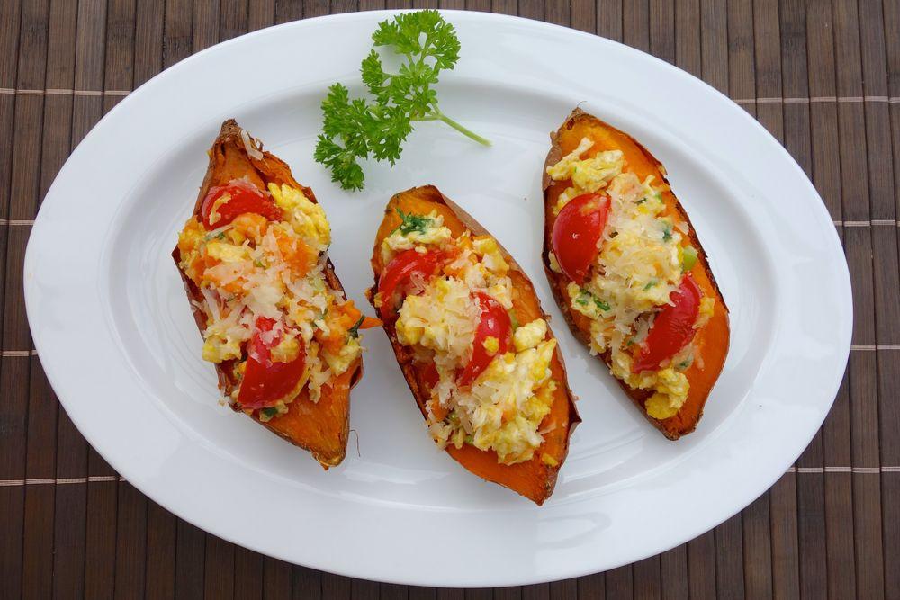 baked sweet potatoes, scrambled eggs