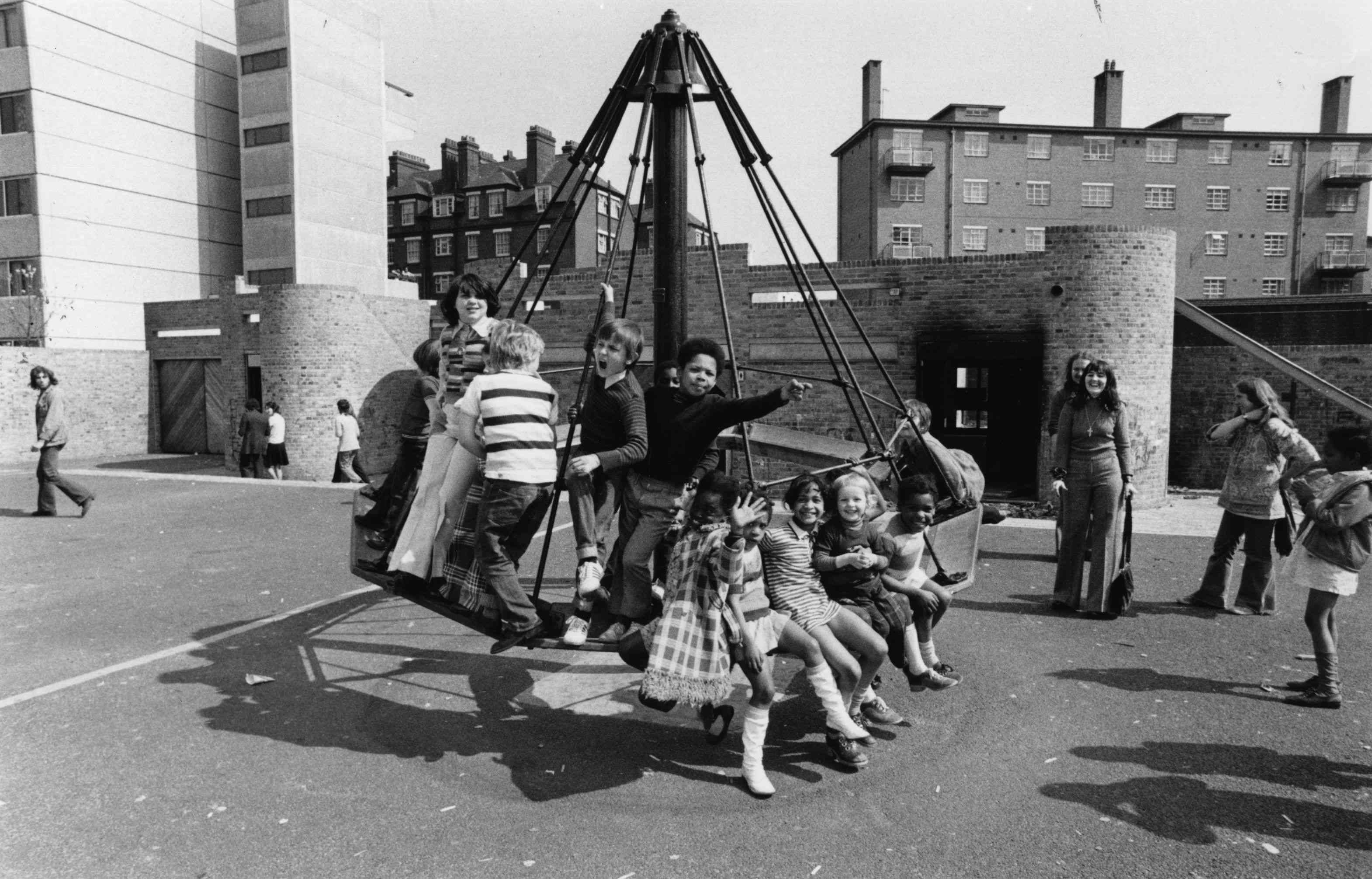 A London schoolyard in the 1970s