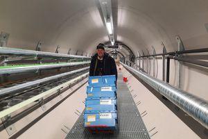 Asmund Asdal unloads seed inside the vault.