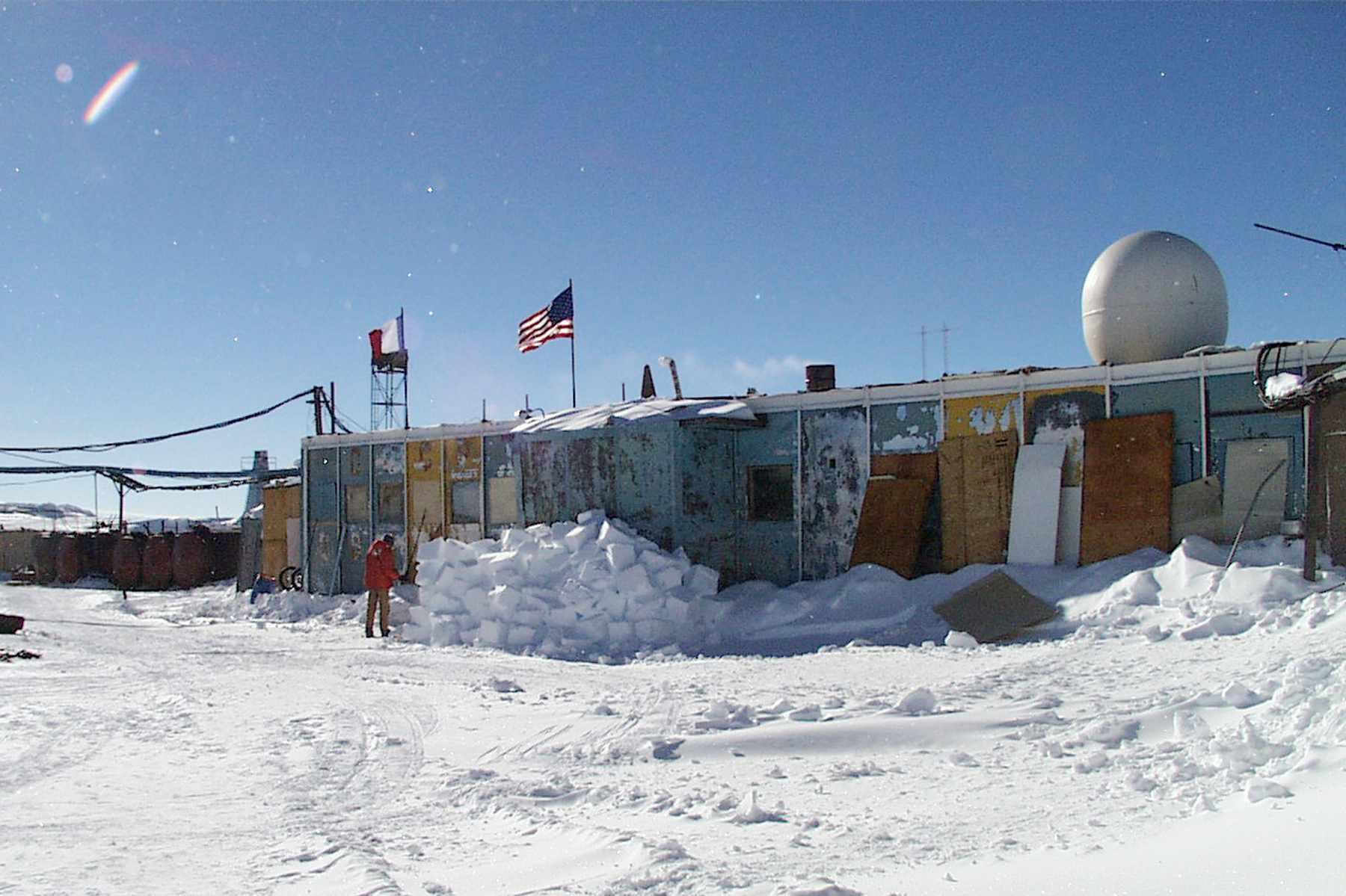 Vostok Station, Antarctica, covered in snow