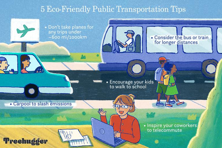 illustration showing 5 eco friendly ways to use public transportation