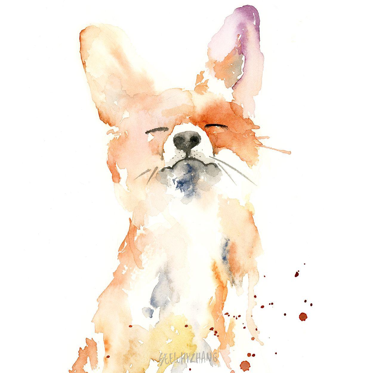 watercolor fox print