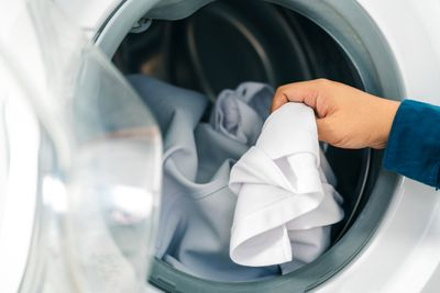 Pulling clothes out of dryer