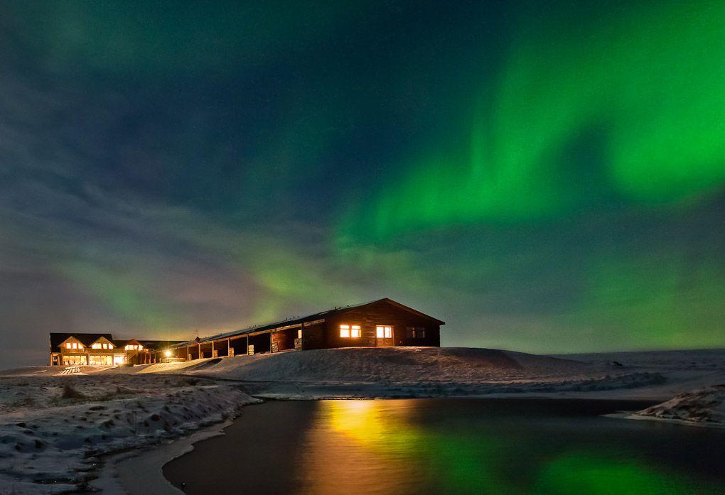 aurora over cabin photo