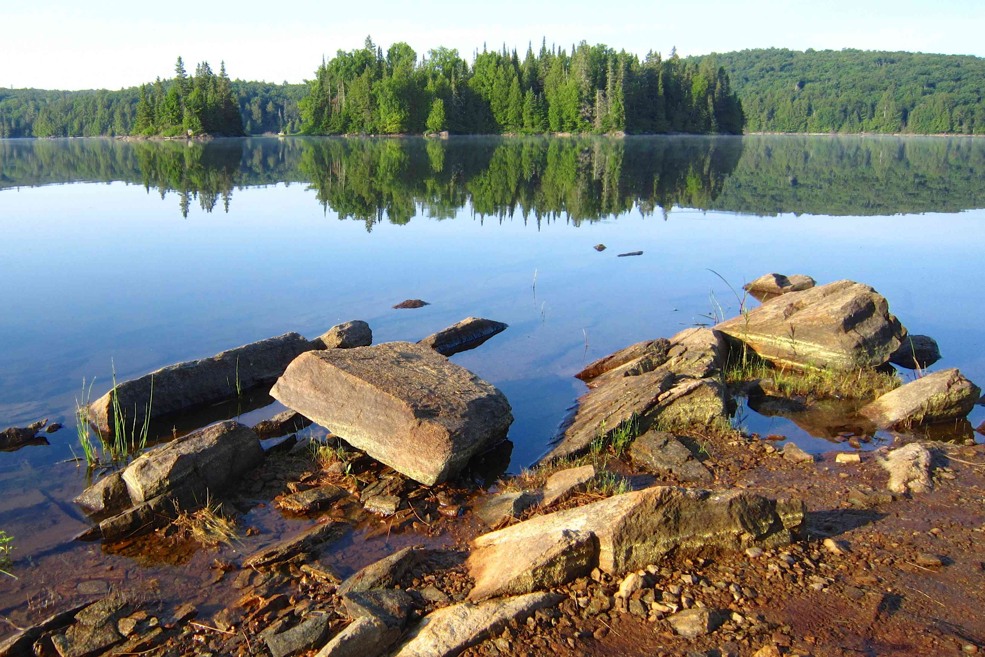 Rocks at the edge of water with trees in the distance at Algonquin Provincial Park