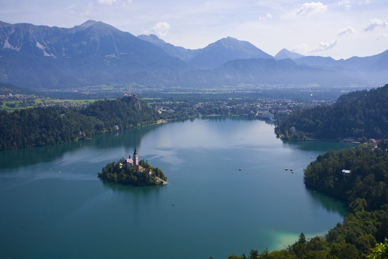 An aerial view of Lake Bled in Slovenia