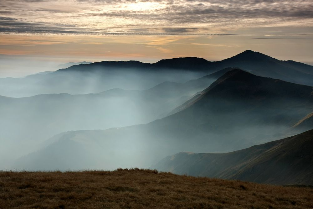 Mountain ranges can be complex, but at the right time of day are simplified into silhouettes.