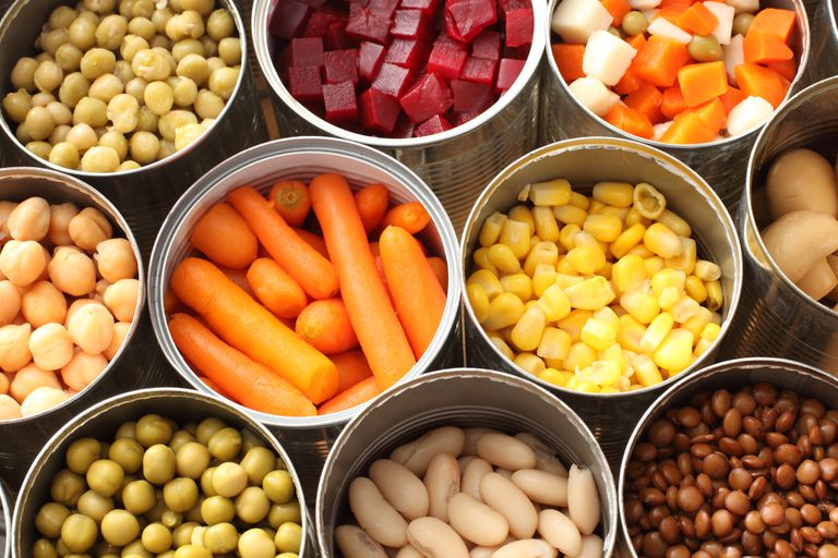 Several cans of vegetables including carrots, corn, beats, peas, and more