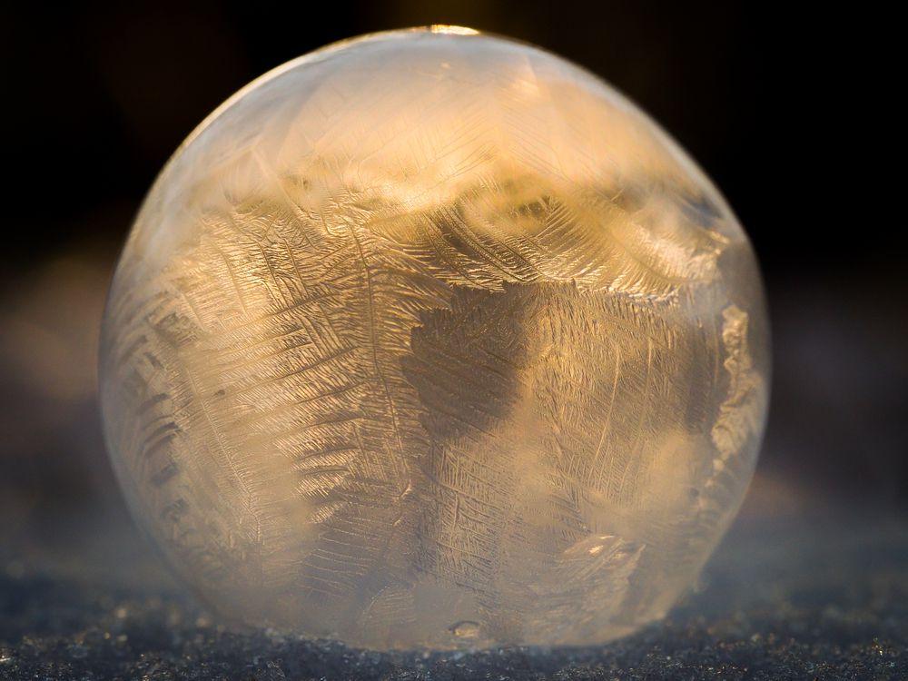 Frozen soap bubble in glowing sunlight.