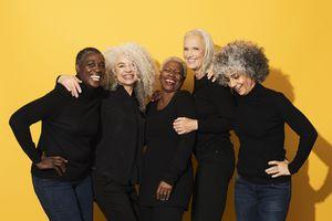 Group of beautiful older women smiling