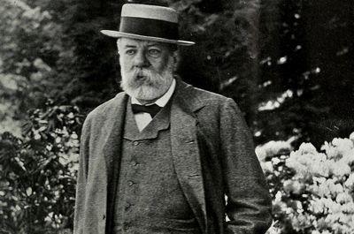 Portrait of Charles Sprague Sargent, famous botanist surrounded by plants