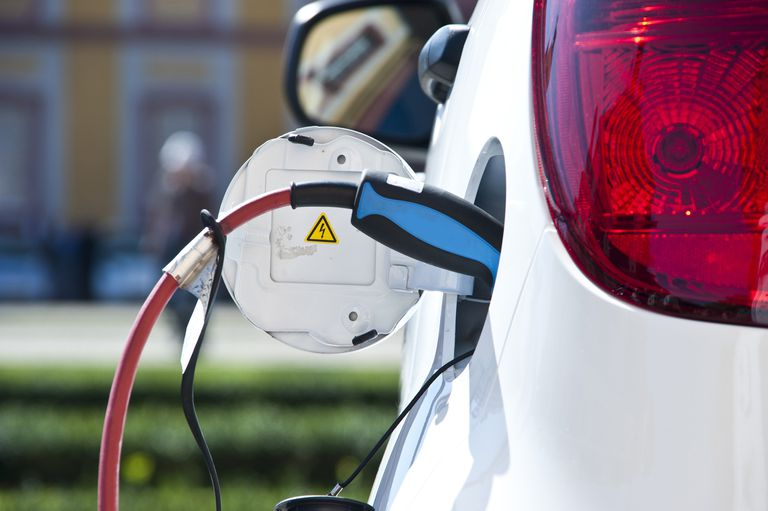 The charging port of an electric car