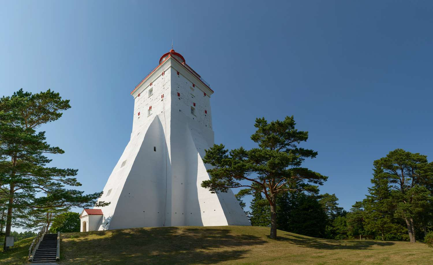Looking up towards the Kõpu Lighthouse in Estonia on a clear day