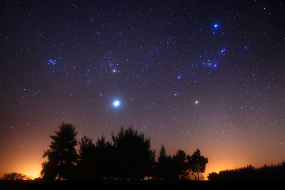 Orion the Hunter and Jupiter rise over a forest just before dawn in this photo captured in September 2012.