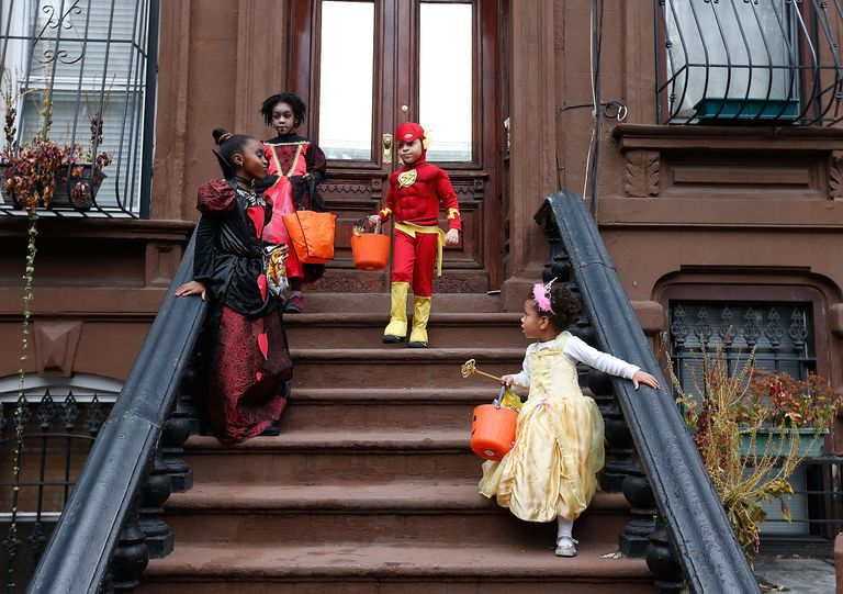 children trick or treat in New York City