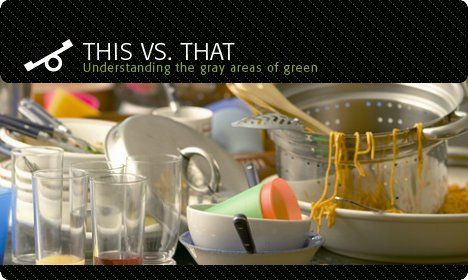 dishwasher vs hand washing dirty dishes photo