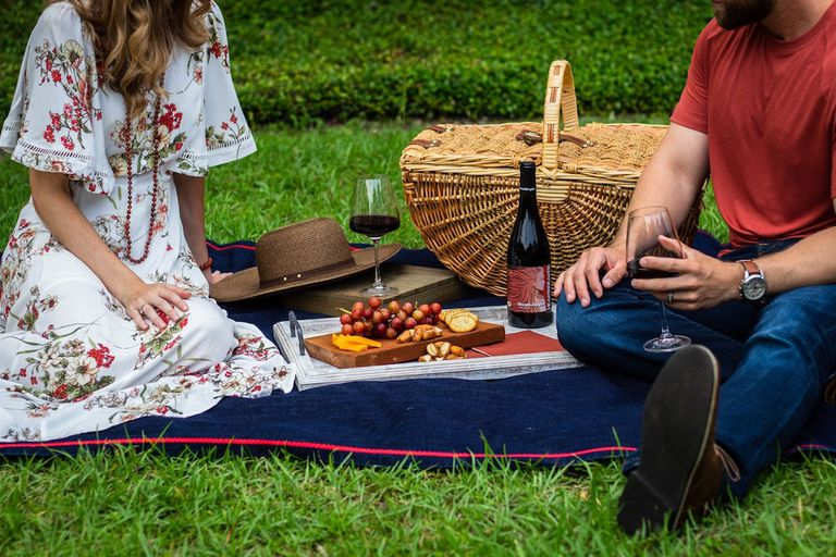 couple having a picnic of grapes, cheese, crackers, and wine